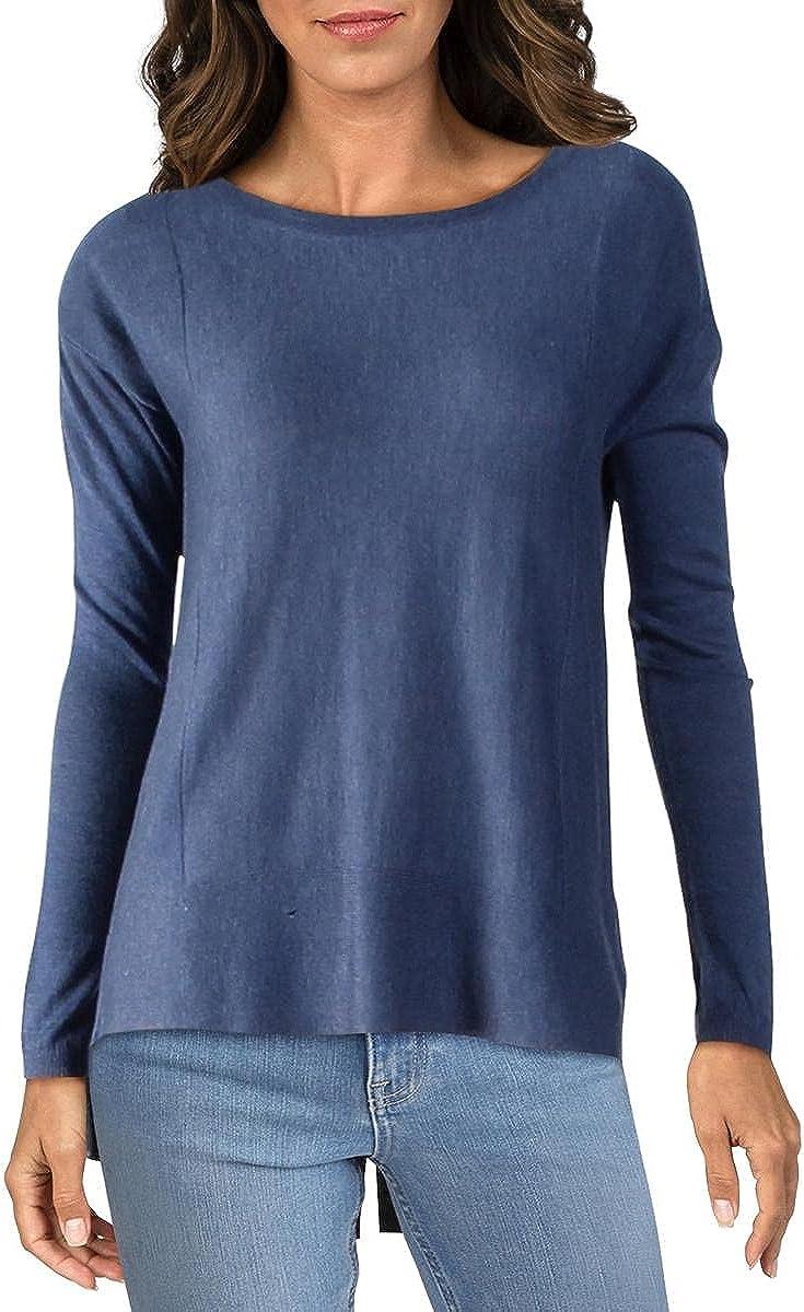 NYDJ Womens Heathered Split Back Pullover Sweater