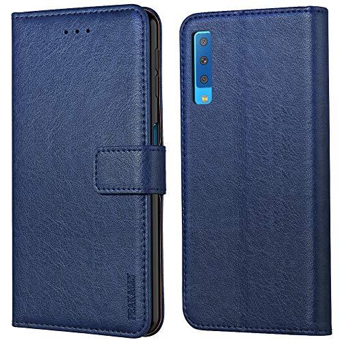 Peakally Samsung Galaxy A7 2018 Hülle, Premium Leder Tasche Flip Wallet Hülle [Standfunktion] [Kartenfächern] PU-Leder Schutzhülle Brieftasche Handyhülle für Samsung Galaxy A7 2018-Blau