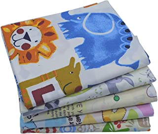 iNee Zoo Animals Fat Quarters Fabric Bundles, Animal Fabric for Sewing Crafting, 18x22 inches