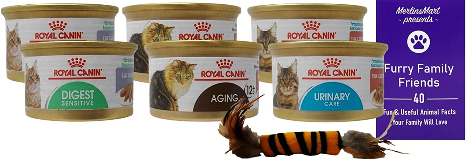 Royal Canin Functional Support Wet Cat Food 3 Flavor 6 Can Sampler, (2) Each: Digest Sensitive, Aging 12+, Urinary Care (3 Ounces) - Plus Catnip Toy and Fun Facts Booklet Bundle
