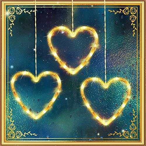 3 Piezas Luces Decorativas de Ventana Interior de San Valentín Luces de Decoración de Corazones, Luces de fondo para Exterior Interior Hogar Dormitorio Boda Pared de Fiesta