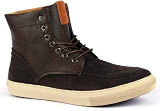 MR.SHOES LACE-UP Coffee Ankle Boots Men Shoes High Tops for Men