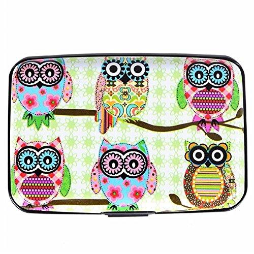 ECYC Cute Owl Printed Wallet Case, Creditcard Wallet Holder RFID Blocking Hard Case