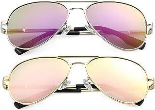 نظارات شمسية بولاريزد افياتور للرجال والنساء، عدسات حماية 100% من الأشعة فوق البنفسجية ذات الطول الموجي 400، 58 مم