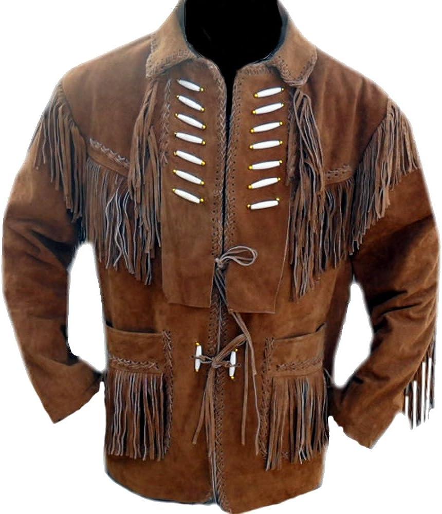 coolhides Men's Cowboy Leather Jacket with Bones and Fringes