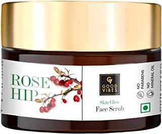 Good Vibes Rosehip Skin Glow Face Scrub - 50 g - Deep Pore Cleansing and Moisutrizing For All Skin Types - Cruelty and Par...