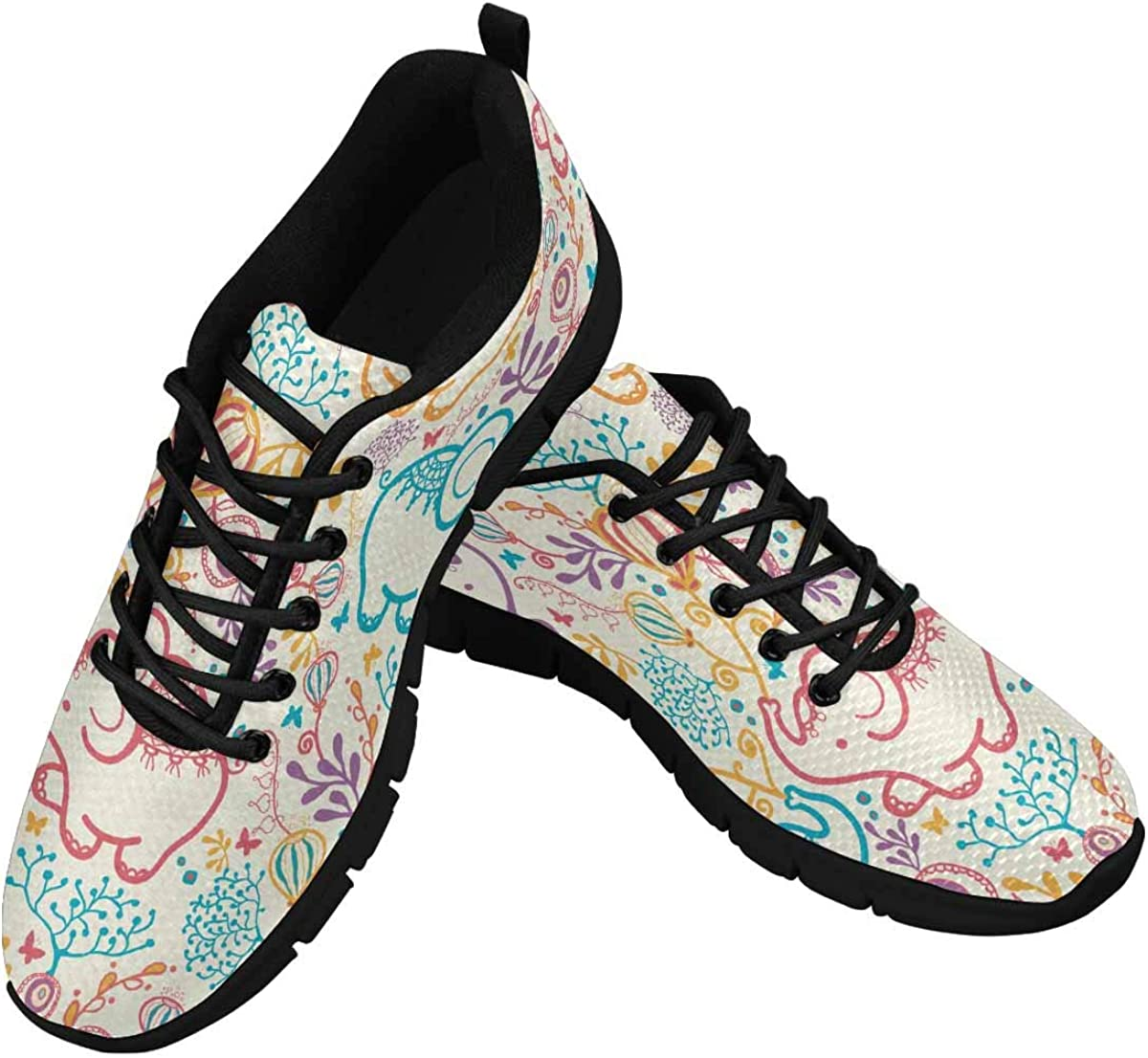 INTERESTPRINT Elephants with Flowers Women's Lightweight Athletic Casual Gym Sneakers