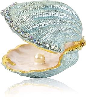 MICG Vintage Pearl Mussel Hinged Trinket Box Wedding Ring Holder Metal Seashell Figurine (White Inside 1pcs)