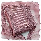 JAYAMAR Women Organza Embroidered Work Un-Stitch Dress Material (Pink)