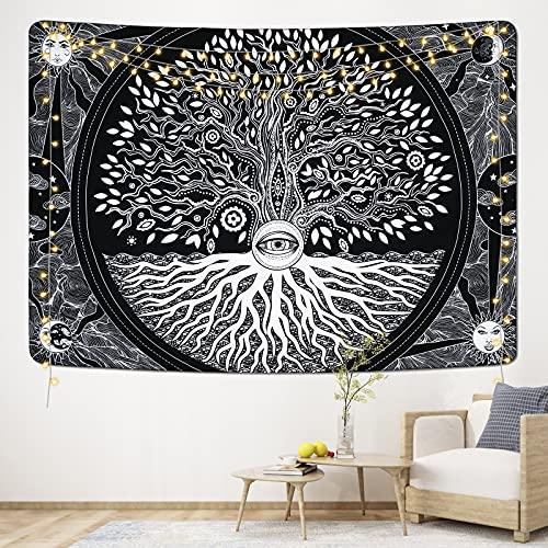 Yugarlibi Tapisserie murale Psychédélique noire avec motif lune et soleil, yeux secrets et arbre de vie Noir et blanc 130 x 150 cm
