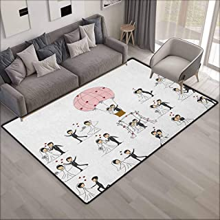 Skid-Resistant Rug,Wedding Bride and Groom Wedding Pictures in Comic Book Style Honeymoon Celebration,Ideal Gift for Children,4'11