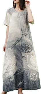 LZJN Women Summer Retro Black Grey Lotus Print Short Sleeve Cotton Linen Dress Loose Casual Ankle Length Dress