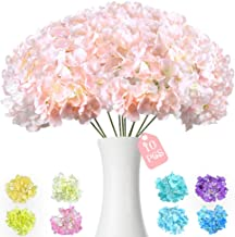 10PCS Pink Artificial Hydrangea Silk Flowers Heads with Long Stems Blush Fake Flowers..