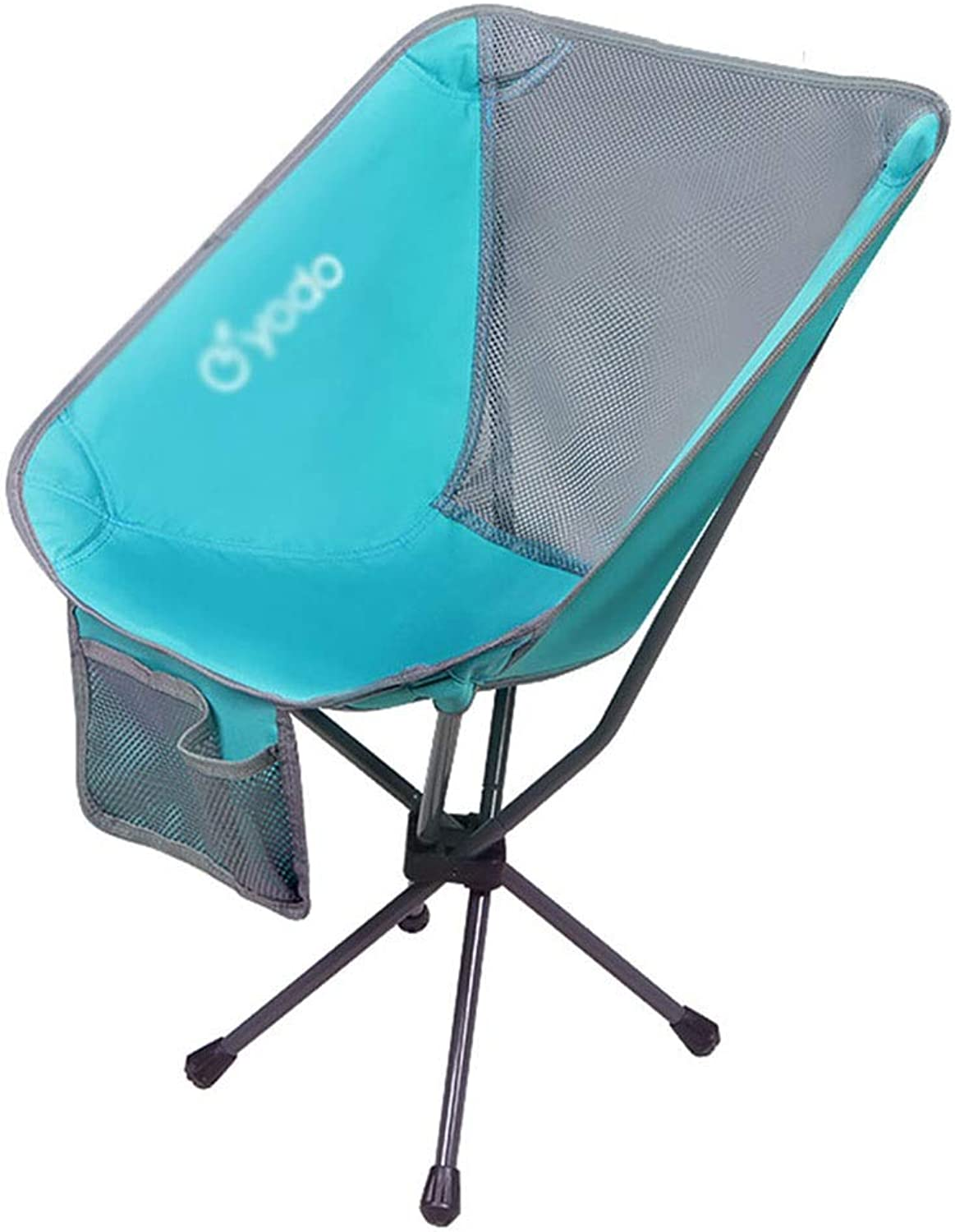 Outdoor folding chair Garden Chair Multi-Purpose Fishing Chair Indoor Lazy Leisure Chair, Fast Folding Load-Bearing 100KG (color   Light bluee, Size   55  52  73cm)