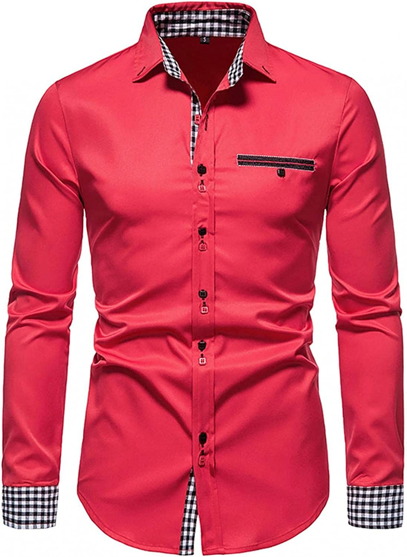 Huangse Plaid Dress Shirt for Men Retro Long Sleeve Turn Down Collar Shirt with Pocket Slim Regular Fit Business Shirts