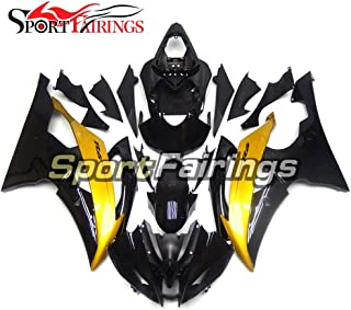 Sportbikefairings Gloss Black Gold Injection ABS Plastic Motorcycle Fairing Kit For Yamaha YZF600 R6 Year 2008 2009-2015 2...