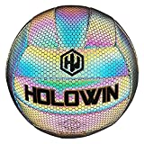 HOLOWIN Holographic Luminous Volleyball for Night Games & Training, Glowing in The Dark Light Up Reflective with Camera Flash Reflects Light Toy Gifts for Boys, Kids, & Men