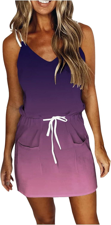 ONHUON Summer Dresses for Women 2021,Women Pure Loose Strap Mini Dress Casual Sleeveless V-Neck Sundress with Drawstring
