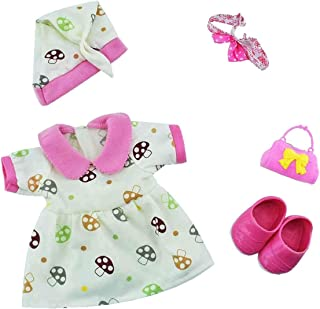 Huang Cheng Toys Lovely Alive Baby Doll Clothes Dress with Headband Shoes Hat for 14-15 Inch Doll