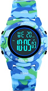 Boys Digital Sports Watch Electronic Military Thin Child Wrist Watches for Kids with Waterproof Stopwatch Alarm EL Outdoor Watches