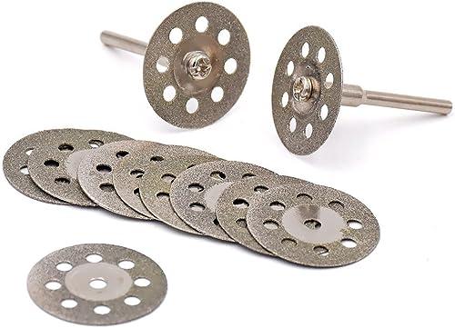 discount Lukcase 10 pcs Diamond Cutting Wheel Cut Off Discs Coated Rotary Tools W/ sale Mandrel 25mm wholesale for Dremel … online sale