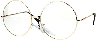 Womens Huge Oversize Large Retro Hippie Round Circle Clear Lens Eye Glasses