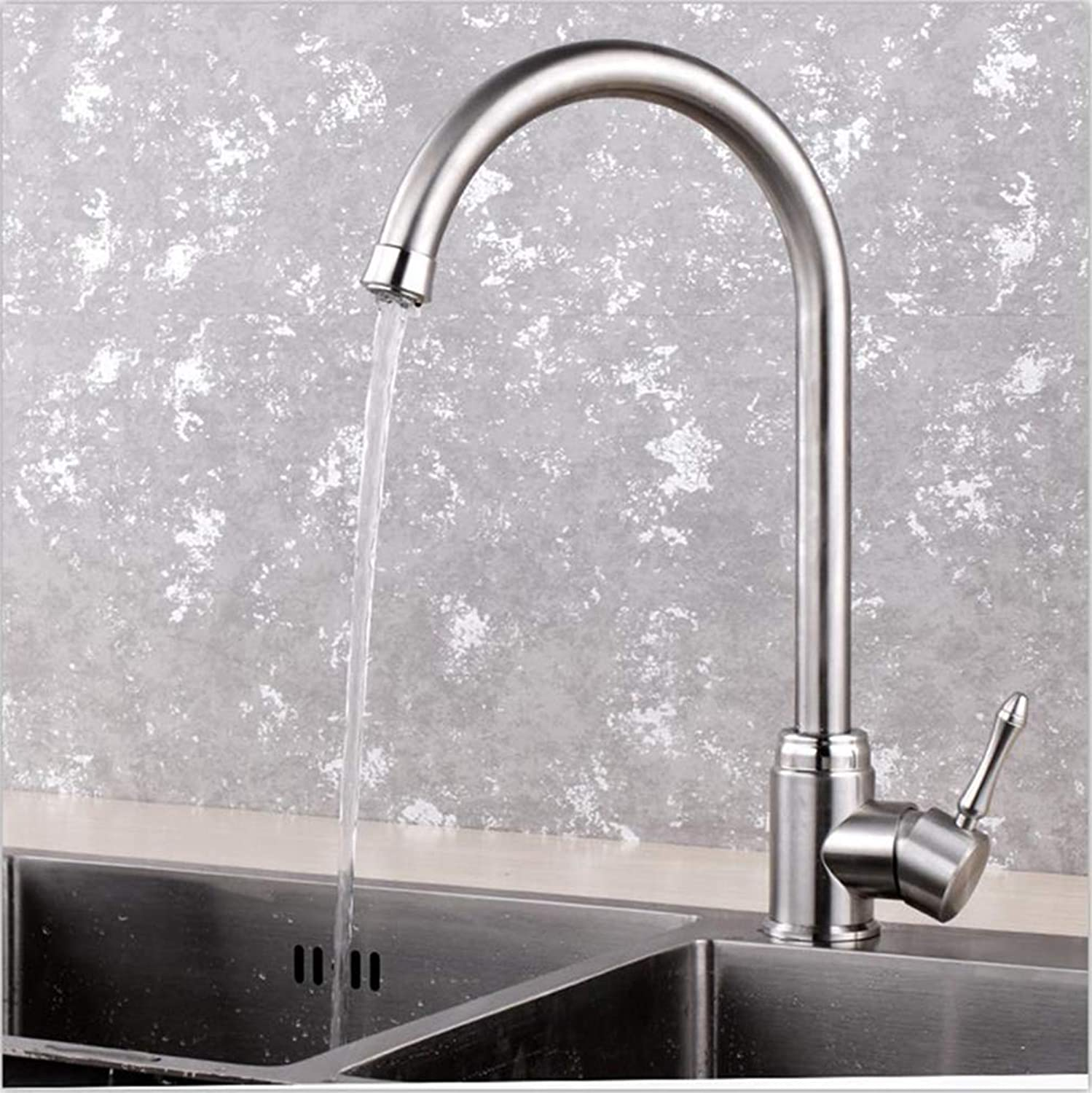 FZHLR Vintage European Design Kitchen Faucet Easy Maintain Brushed Surface 304 Stainless Steel Cold and Hot Deck Mounted Brushed,B