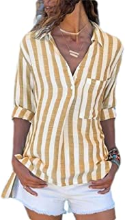 GUOCAI Women Tops Stripe Casual Button Up Long Sleeve Shirts Blouse with Pocket