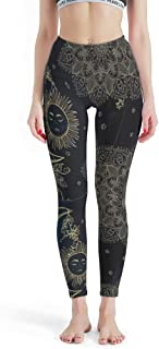 FHU88 Womens Stretchy Workout Capris, Sun&Moon Patterns Leggings Depot Joggers Capri Workout Tights -Texture Pants for Girls