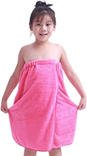 Enerhu Kids Bath Towel Robe Child Terrycloth Spa Wrap with Snap Buttons