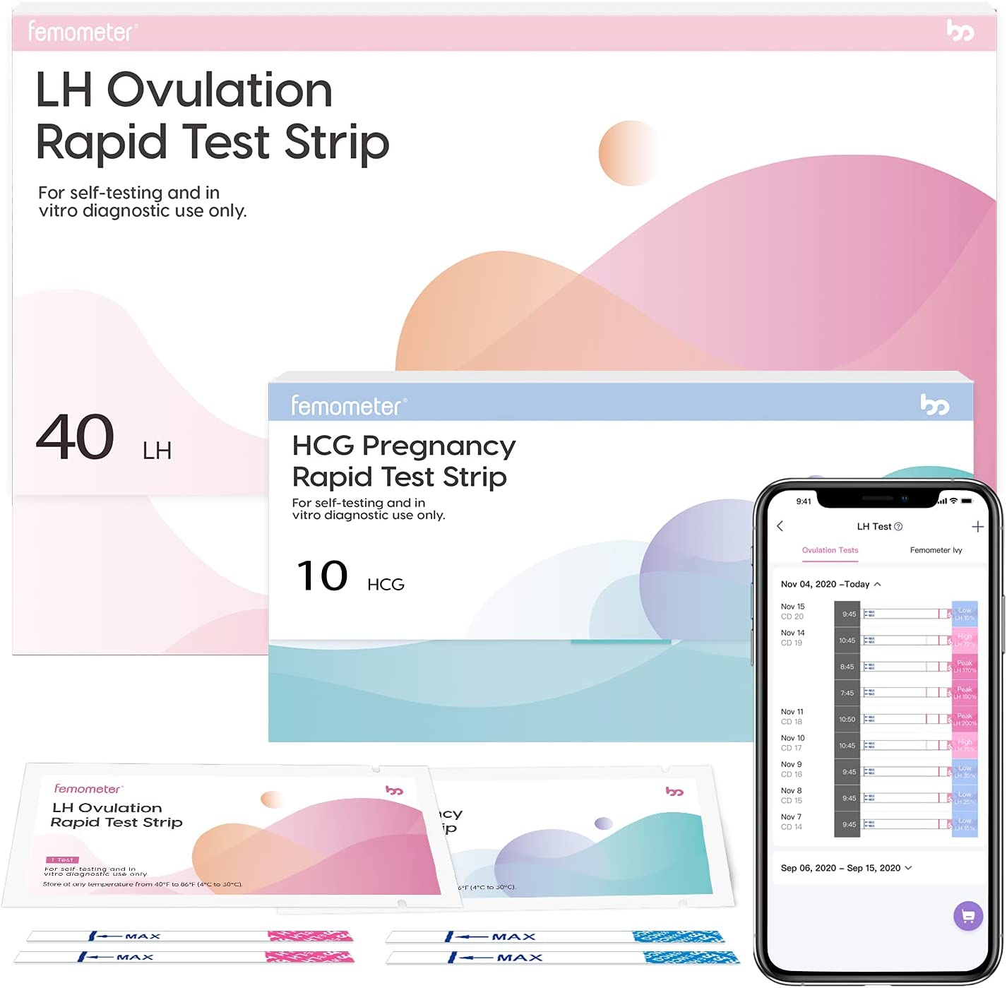 Femometer 40 Ovulation Test Strips and 10 Pregnancy Test Strips Combo kit, Sensitive Fertility Predictor Testing Strips Kits with Accurate Results, 50 PCS