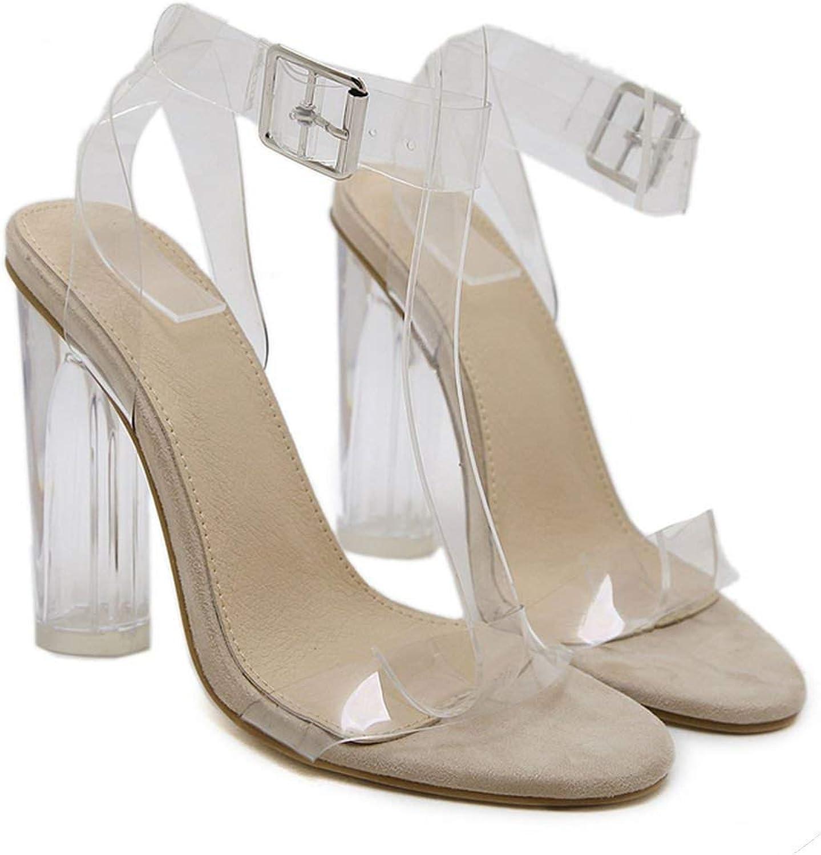 Transparent Heels Woman Summer PVC Clear Heels Women Sandals Ankle Strap High Heels shoes