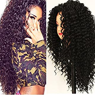 PlatinumHair Black Kinky Curly Wig 180 Density Heat Resistant Glueless Natural Synthetic Lace Front Wigs for Black Women 24 inch