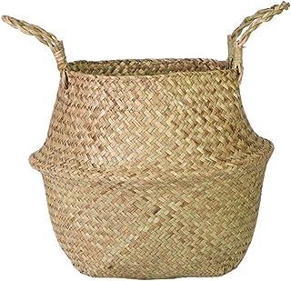 Sobotoo Seagrass Basket tissé à la Main Pliable Plante Pot De Fleurs Jouet Panier De Rangement Wovening Panier À Linge ave...