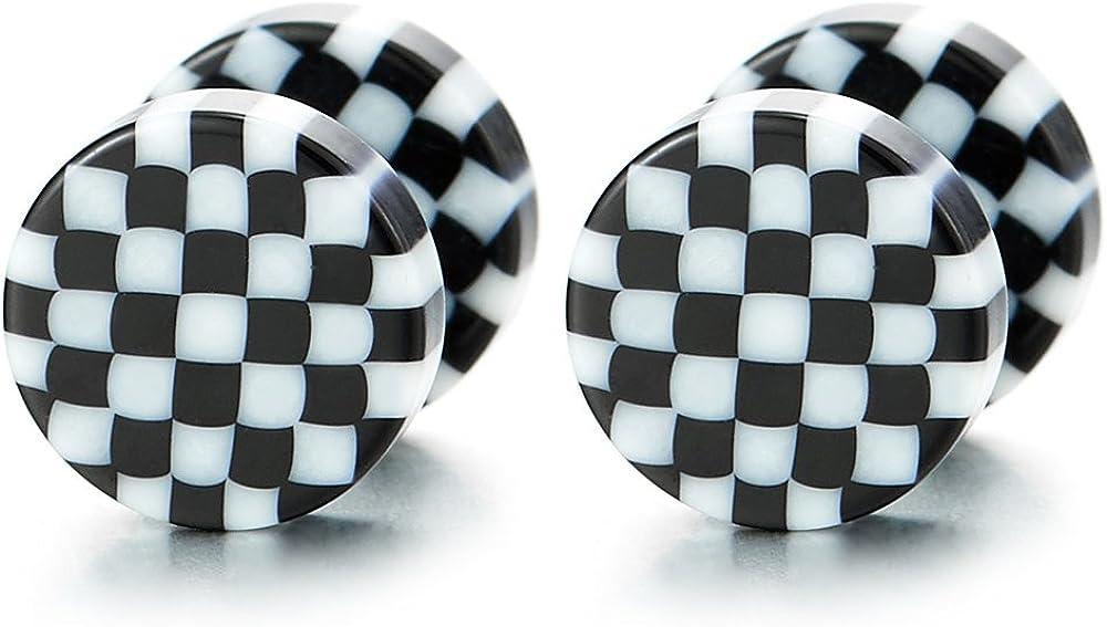 8MM Negro Blanco Patrón de Cuadros Círculo, Enchufe Falso Fake Cheater Plugs Gauges, Pendientes de Hombre Mujer, Aretes, 2 Piezas