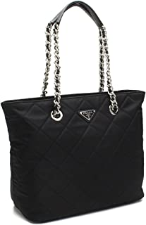 Midnight Black Quilted Tessuto Chain Designer Shoulder Tote Bag for Women 1BG017