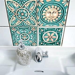 Tile Sticker for Kitchen & Bathroom 6x6 Inch Waterproof Anti-mold Italy Majolica Pearly Backsplash Tile Sticker Decals for Walls Stairs Decals(10PCS/Set)
