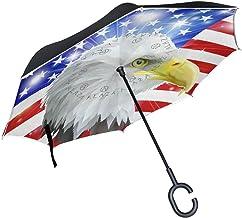 rodde American Eagle con manija en Forma de C para Lluvia Paraguas invertido de Doble Capa a Prueba de Viento al Aire Libre Reverso Cerrar