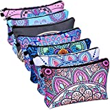 Cosmetic Makeup Bags for Women, Shynek 7Pcs Cosmetic Travel Makeup Bag Bulk, Waterproof Travel Toiletry Organizer Zipper Pouch with Mandala Flower Patterns for Women Girls