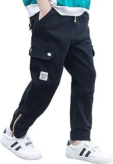 VfaceDream أولادي أزياء عادية من القطن سراويل رياضية نحيفة مع جيوب للأطفال