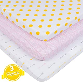 Pack n Play Playard Sheet Set | 3 Pack | 100% Super Soft Jersey Knit Cotton (150 GSM) | Portable Mini Crib Mattress Fitted Sheets for Boys & Girls by BaeBae Goods