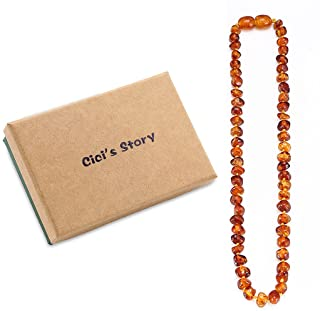 Amber Necklace Gift Set(Unisex)(Cognac)(14 Inches) - Handcrafted, Lab-Tested, Authentic Amber