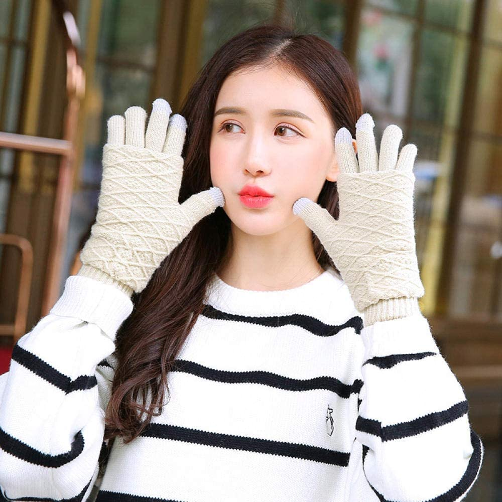 Women's Cold Weather Gloves Rabbit hair ball full finger knit touch screen dual-use cute half-finger bicycle