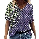 SLYZ Camiseta De Manga Corta con Cuello En V Y Estampado Geométrico con Efecto Tie-Dye De Manga Corta para Mujer