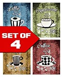 Wallables Latte, Cappuccino, Espresso, Coffee! Retro Coffee Themed Kitchen Decor Wall Art! Set of Four 8x10 Art Prints. Kitchen, Cafe, Diner, Restaurant Decor. Designed Exclusively