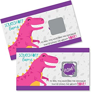 Big Dot of Happiness Roar Dinosaur Girl - Dino Mite T-Rex Baby Shower or Birthday Party Game Scratch Off Cards - 22 Count