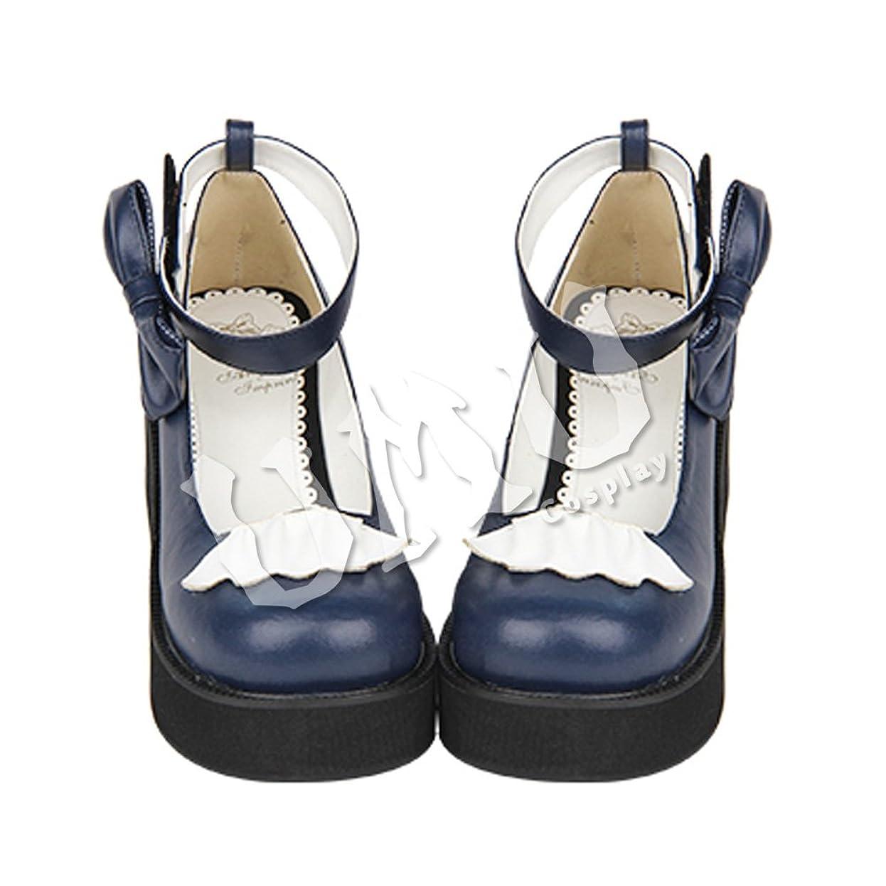 関税十分ではない一緒に【UMU】 足24.5cm LOLITA ロリータ 深青 白 リボン 風 靴 オーダーメイド(ヒール高、材質、靴色は変更可能!)