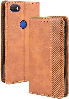 LUSHENG Capa para Alcatel 1v (2019), capa flip ultrafina de couro com função de suporte para cartão de crédito, capa inter...