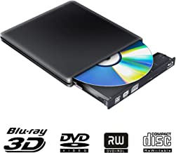 External Blu Ray DVD Drive 3D 4K,Bluray Disc USB 3.0 Burner Reader Slim BD CD DVD RW ROM Writer Player for iMac PC Laptop MacOS Windows 7 8 10 XP