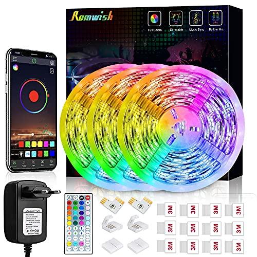 Striscia LED 15M, Romwish Luci LED Colorate RGB SMD 5050 Bluetooth Musica Sync LED Strip Controllo App e 44 Tasti Telecomando per Casa, Cucina, Festa, TV, Decorazione